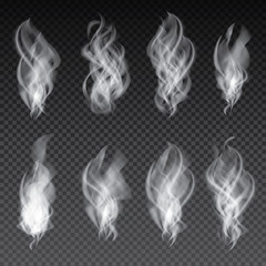 Smoke Set Isolated on Transparent Background.