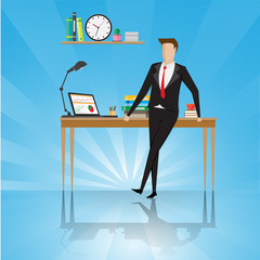 Business characters. Businessman stand near table in a office workplace. Successful business man