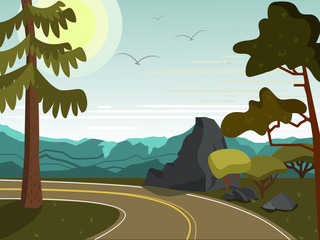 Summer landscape. The road through the rocks and trees.