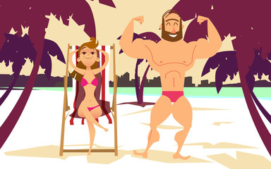 Young woman in bikini on the beach. Young man with muscles on the beach.