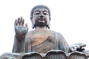 Big Buddha closeup statue, Hong Kong isolated on white background