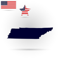 Map of the U.S. state of Tennessee on a gray background. American flag, star