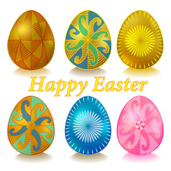 Easter Ukrainian eggs with ornament. Set Happy Easter.