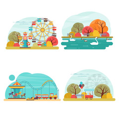 Set of amusement park scenery with attraction, carousel and water rides