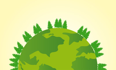 Earth day deign with world and tree