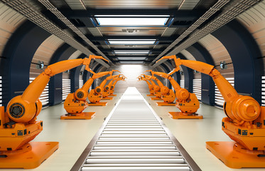 robotic arms with conveyor line
