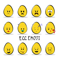 Set of 12 egg emoji isolated on clear background.