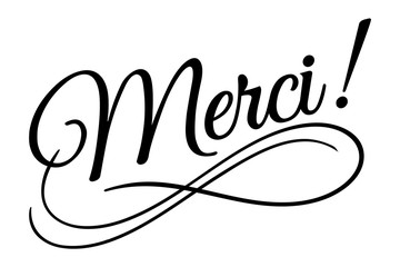 Mersi sign. Vector illustration. Beautiful typography banner lettering word text vector design. Greeting invite poster card hand drawn ink black art brush white isolated background