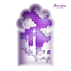 Ramadan Kareem Greeting card. Origami Mosque Window. Holy month. Paper cut Cloud.
