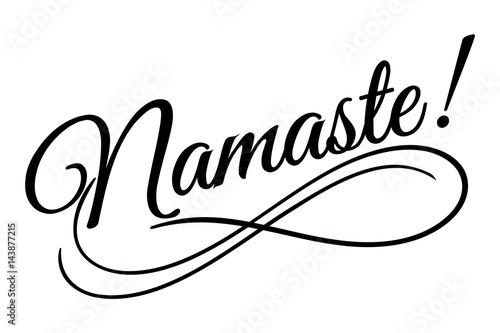 Line Art Vector Design : Namaste sign vector illustration beautiful typography banner