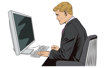 Businessman working on computer. Stock illustration.