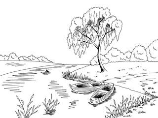 River boat graphic black white landscape sketch illustration vector