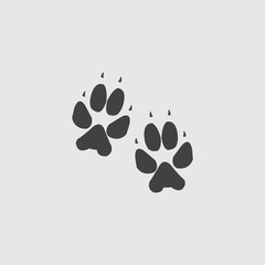Animal tracks icon in a flat design in black color. Vector illustration eps10