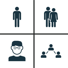 Person Icons Set. Collection Of Beloveds, Scientist, Network And Other Elements. Also Includes Symbols Such As Gentleman, Scientist, Man.