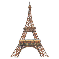 France Eiffel Tower Hand-Painted Isolated Illustration