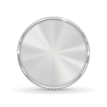 Silver coin. Blank round medal