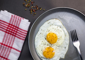 Fond de hotte en verre imprimé Ouf Two fried eggs in pan - overhead photo