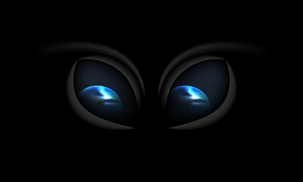 Alien eyes on a black background with reflection Earth planet in his eyes. Mystical view from space.