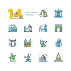 Landmarks - colored modern single line icons set
