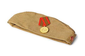 Soviet Army soldiers forage-cap and medal