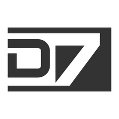 D & 7 Letter and Number joint logo icon vector.