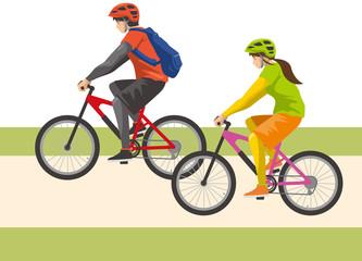 自転車に乗る男性と女性のイメージイラスト