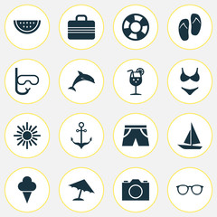 Sun Icons Set. Collection Of Ship, Dinghy, Video And Other Elements. Also Includes Symbols Such As Drink, Ice, Camera.