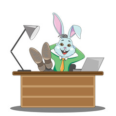 Rabbit manager in a man's suit sits at the office table, having folded his legs and shows his finger like