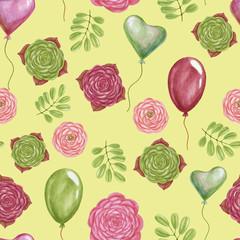 Marker Flowers seamless pattern.
