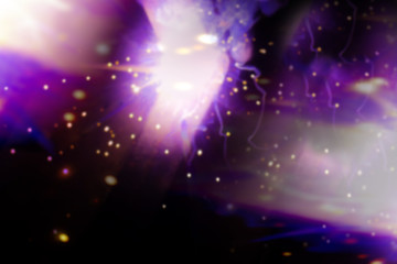 Luminous abstractions as a result of electric welding. Purple flashes and bright points. background