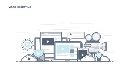 Flat Line Design Header - Video Marketing
