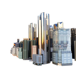 panorama cityscape modern high-rise buildings panorama of the central part of the city 3d rendering on white