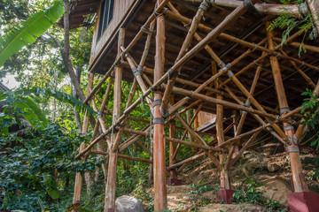 Base of bamboo bungalow
