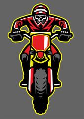 Mascot of skull riding motocross