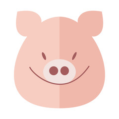 Pig smiles, pig's muzzle. Pig head, vector flat