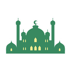 Deurstickers Mosque and minarets. Colorful vector illustration