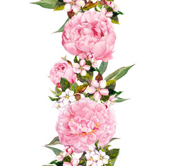 Floral border - pink peony flowers and cherry blossom. Repeating romantic banner. Watercolor