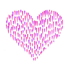 Heart with abstract color pattern on white background