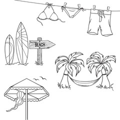Set of hand drawn design elements for summer holidays and beach rest