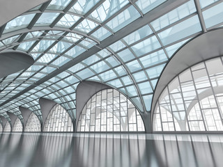 Arched glass pavilion interior. Great hall with a transparent roof. 3d illustration