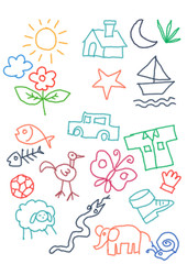 kids doodle color-full random object crayon icon collection. car, sun, home, butterfly, snake