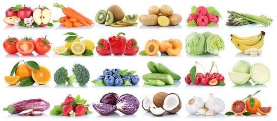 Wall Mural - Obst und Gemüse Früchte Sammlung Apfel Orange Bananen Beeren frische Freisteller freigestellt isoliert