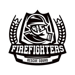 Monochrome logo, emblem, fireman in a gas mask.