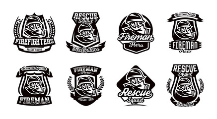 A set of logos, emblems, a fireman in a gas mask.