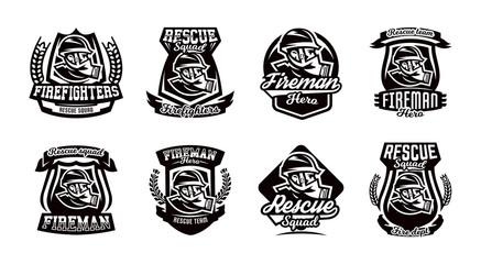 A set of logos, emblems, a fireman in a gas mask.
