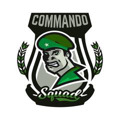 Emblem, logo, military man.