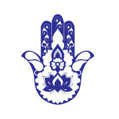 Sketch of a blue hamsa on a white background.