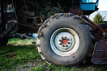 Close-up of tyre of big farming machine