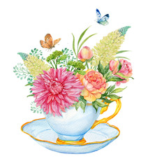 bouquet in the Cup watercolor
