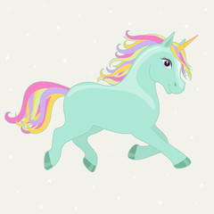 Green, mint magic running unicorn with rainbow mane and horn isolated on white background. Vector illustration.